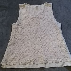 Charter club white floral lace top